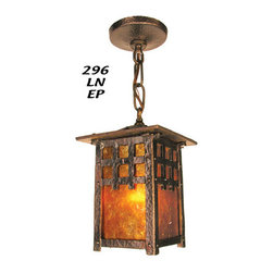 MIssion, Arts and Crafts, Craftsman, Rustic Lighting - Matching single pendant to the lovely cast craftsman lantern chandelier  fixture.