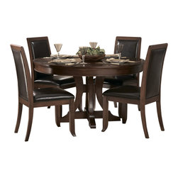 Homelegance - Homelegance Avalon 5 Piece Round Pedestal Dining Room Set in Cherry - This clean-lined transitional casual dining takes its roots from the art deco era of the 1930's. The Avalon dining collection is both straight forward and dramatic. Excitement comes from its simple yet elegant rectangular leg table and two round table options, streamlined bowed fronts bunching china with tear drop drawer pulls and its matched veneer drawer front design. The dark brown bi-cast vinyl chair with style and durability makes a statement of its own. Constructed of maple veneers with select hardwoods in a contemporary low sheen cherry finish.