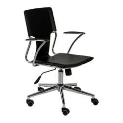 Eurostyle - Eurostyle Terry Swivel Office Chair in Black Leatherette & Chrome - Swivel Office Chair in Black Leatherette & Chrome belongs to Terry Collection by Eurostyle Lighter and leaner than most office chairs with this kind of flexibility; great lines on the arms and back make the Terry a contemporary twist��_��__.and it does swivel. Office Chair (1)