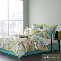 Echo - Echo Status Cotton 3-piece Comforter Set with Euro Sham Sold Separate - The Status comforter set has an abstract,geometric design that instantly transforms any bedroom. The bold aqua,green,dark grey and white lines intertwining on the face of the comforter create a captivating design. Euro sham is sold separately.