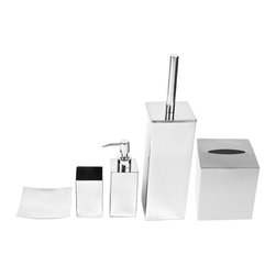 Gedy - Free Standing Stainless Steel Bathroom Accessory Set - Polished chrome accessory set. Our 5 piece set will match perfectly in any bathroom. The soap dish, toothbrush holder, soap dispenser, tissue box cover, and toilet brush holder are all included. Polished chrome 5 piece accessory set. Stainless steel. Great for master or guest bathrooms. Included in set:. (1) Soap dish Gedy NE11-13. (1) Toothbrush holder Gedy NE98-13. (1) Soap dispenser Gedy NE81-13. (1) Toilet brush Gedy Gedy NE33-13. (1) Tissue box cover Gedy 2302.