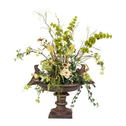 Bird Bath Silk Floral Arrangement - For the birds! Bring the beauty of your garden inside with this silk floral arrangement. The flowers and greenery are set in a birdbath for a whimsical touch.