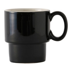 Tuxton - DuraTux 10 oz Stackable Mug Black/Eggshell - Case of 24 - DuraTux offers the widest selection of ceramic ovenware and accessory items in the industry. Our products are designed to handle the demands of any fastpaced environment  without breaking your budget. As with our dinnerware products all our ovenware items are fully microwavesafe, ovenproof, and dishwasherfriendly. With over 30 mugs available we can supply the right mug for your establishment.