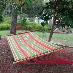 Pawleys Island Hammocks - Pawleys Island Trellis Garden Large Quilted Duracord Fabric Hammock Multicolor - - Shop for Hammocks from Hayneedle.com! Additional features Zinc-plated hanging hardware includes 2 tree hooks and 2 S hooks Garnet-colored ropes of all-weather fade-resistant DuraCord Resists fading staining rot mold and mildew Polyester fiberfill batting for a cushiony soft surface Hammock stand sold separately Weight capacity: 450 lbs. Overall length: 13 feet Overall dimensions: 13L x 4.5W feet Includes 1-year warranty Put a permanent rainbow in your backyard by picking up the Pawleys Island Trellis Garden Large Quilted Fabric Hammock. This vibrant spacious hammock from Pawleys Island transforms your outdoor space into a colorful getaway spot with its pleasing array of colors. The hammock is crafted from two layers of all-weather solution-dyed cotton-soft fabric with stripes of leaf green pebble yellow oatmeal and garnet red making this item Pawleys Island's most popular quilted hammock ever. White-oak spreader bars are hand-dipped multiple times in honey-gold marine spar varnish. How does DuraCord differ from other fabrics? DuraCord is a hybrid fiber due to the many alterations that are made to its base ingredient. It is manufactured in a much smaller denier size meaning individual fibers are smaller making more fibers per yarn. The fibers go through a special texturizing process to give it its soft-to-the-touch cotton-like feel. Fibers are de-lustered to take away the shiny look of the yarn and give it a cotton-like look. DuraCord fabrics are abrasion resistant easy to clean stain resistant color fast fade resistant and have 1 000+ hours of UV resistance. The DuraCord fibers have the properties to make them durable for long outdoor life but without the synthetic feel. About Pawleys IslandIn 1889 the Original Pawleys Island Rope Hammock was created at Pawleys Island one of the oldest summer resorts on the South Carolina coast. When river boat pilot Captain Joshua John Ward found the grass-filled mattresses on his boat too hot in the summer he decided to make a cool and comfortable cotton rope hammock to use on his boat. After several uncomfortable designs Cap'n Josh made a hammock using wooden spreaders without knots. This original design has proven to be so comfortable that it's still used in Pawleys Island's popular hammocks over a century later. Pawleys Island continues to use the highest-quality materials when making its traditional all-cotton rope spun polyester rope and DuraCord hammocks. The custom-designed stretcher bars are cut from seasoned Carolina red oak then steamed bent drilled sanded and varnished to impart a comfortable sway to the hammock and to spread the rope evenly for optimum stability. The people of The Original Pawleys Island Rope Hammock are incredibly proud to be anything but new-fangled. Now 120 years old and counting they continue to offer the very best of their past hoping it will help you better enjoy your future.