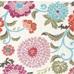 The Rug Market - Floral Red and White Rectangular: 5 Ft. x 7 Ft. 6 In. Rug - - Beautifully bright, bold and colorful the poppy scroll rug is a gorgeous addition to any room. Build an entire room around it or simply add it into a room needing color  - Hand made  - Durable  - Pile Height: 0.75-Inch  - Backing Material: Canvas  - Construction: Hook  - Cleaning Care: Professional Rug Cleaner Only The Rug Market - 25447D