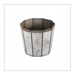 Worlds Away Antique Mirror Hexagonal Wastebasket. - Antique mirror hexagonal wastebasket.