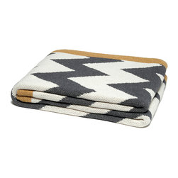 Zigzag Chevron Throw - Smoke/Milk/Straw - A greyscale throw warmed by yellow color-blocking takes on current pattern trends for an approachable, of-the-moment look in your decor, whether you tend toward minimalism softened by a few comforts or prefer an eclectic space. Folded on the foot of a bed or loosely tossed over a leather chair, the ZigZag Chevron Throw in Smoke, Milk, and Straw provides a flash of color.