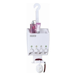 Better Living - Better Living Products Ulti Mate Dispenser IV Shower Caddy - The Ulti Mate Dispender by Better Living Products provides the best set up for your bathroom environment possible. With features like a shower caddy, soap try with hooks for accessories and a convenient shelf for extra bottles there is no denying the multi-purpose space saving orgainizing dispenser. It also features a showerhead hook for those hesitant to strap it onto the wall. With its sturdy plastic construction there is no shower this dispenser can't handle.