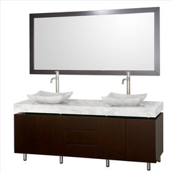 "Wyndham Collection - Wyndham Malibu Vanity 72"" Espresso - Vanity 72"" x 22 1/4"" x 35"" (including sink)"