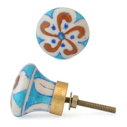"""Knobco - Floral Design Knob, Brown Flower And Blue Dots With White - Brown Flower and Blue dots with white base knob-07 from Jaipur, India. Unique, hand painted cabinet knobs for your kitchen      cabinets. 1.5"""" in diameter. Includes screws for installation."""