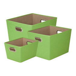Honey Can DO - Green Storage Bin, Set of 3 - Designed to hold everything from books to toys to bathroom essentials, this green set of 3 storage bins add plenty of extra storage and a pop of color to any room. Great for car trunks, kids rooms, closets, shelving units, and more.
