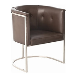 Arteriors - Calvin Brown Leather , Barstool - Classic shape. Top grain brown leather with polished nickel accents.