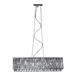 Seven Light Chrome Silver Shade Island Light - Sparkling crystals shine beautifully on this exquisite seven light fixture, and are paired perfectly with chrome hardware. Adjustable cable is included to ensure the perfect hanging height.