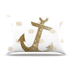 """Kess InHouse - Nika Martinez """"Glitter Anchor"""" Gold Sparkles Pillow Case, King (36"""" x 20"""") - This pillowcase, is just as bunny soft as the Kess InHouse duvet. It's made of microfiber velvety fleece. This machine washable fleece pillow case is the perfect accent to any duvet. Be your Bed's Curator."""