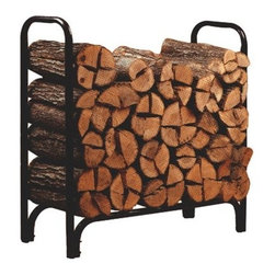 Panacea Deluxe Log Rack Black - 4 ft. - Keep the Panacea Deluxe Log Rack Black - 4 ft. outside your front or back door and enjoy cozy nights spent curled up around the fireplace inside. Made from durable steel, this rack has a thick powder-coated layer that is resistant to water, letting you store your wood in a handy spot.About PanaceaCelebrating over 40 years of manufacturing excellence, Panacea Products is a family-owned company started in 1967 by Frank Paniccia. The company has evolved as a manufacturer supplying products to a variety of industries. Today, their consumer products include decorative metal products for the garden and hearth industry, home organization items, and flower-arranging tools for the craft industry. They also produce a variety of industrial steel, glass, and plastic products.