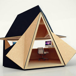 Tetra Shed - Tetra Shed - The Tetra Shed is part of a modular living and working space system. They can be combined into clusters of up to six. But if you use only one or two, it's a perfect space for a backyard office.