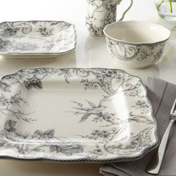 "Horchow - 16-Piece ""Adelaide"" Gray Dinnerware Service - Unique shapes and a delightful French toile pattern in soothing shades of gray make this dinnerware a charming addition to the breakfast or lunch table. Made of fine china. Dishwasher and microwave safe. Service for four includes four 11""Sq. dinner p..."