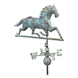 Good Directions, Inc. - Good Directions Horse Weathervane - Blue Verde Copper - Head held high, this elegant thoroughbred is a common weathervane design from 1850. Now he's rearing to grace the rooftop of your house, barn, garage, or cupola. Our Good Directions artisans use Old World techniques to handcraft this fully functional, standard-size weathervane that's unsurpassed in style, quality and durability. A great gift for horse enthusiasts!
