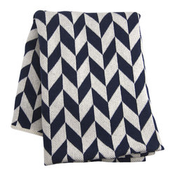 Blue Chevron Throw - Cozy up! Medium weight knit throws crafted in a cotton-poly blend. Perfect for cuddling on the sofa or warming up by the fire. Unique re-spun fibers are made from re-processed off-cuts. No new materials needed! Blanket measures 50 by 60 inches. Machine washable. 74% cotton, 24% poly, 2% other.