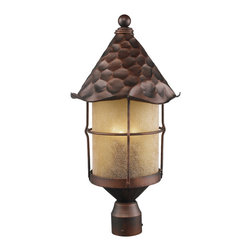 Elk Lighting - Rustica 3-Light Outdoor Post Light in Antique Copper and Amber Scavo Glass - Bring storybook flair to an old english, cottage or spanish revival-style home with the Rustica Collection. Hand-hammered iron and scavo seedy-glass cylinders characterize this series, which may be ordered in matte black (bk) with white scavo glass and antique copper (ac) with amber scavo glass. They may be used in both indoor and outdoor locations. (ul listed).