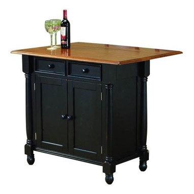 Sunset Trading - Eco-Friendly Drop Leaf Island - Two drawers for storing cooking utensils. Two large opening doors for substantial storage space. Table top in cherry. Base in antique black. Decorative accents and drop leaf top. Adjustable shelf in the storage compartment. Drop leaf instantly converts this island into breakfast bar. Warranty: One year. Made from hand crafted solid wood, wood veneers and eco-friendly Malaysian oak. No assembly required. Minimum: 42 in. L x 22 in. W x 36 in. H. Maximum: 42 in. L x 32 in. W x 36 in. H (115 lbs.)This beautifully designed kitchen island supplied by Sunset Trading will assure you many years of use and enjoyment. Enhance the beauty and warmth of your kitchen while extending your work surface, dining and storage space with this finely drop leaf island from the Sunset Trading - Sunset Selections Collection. This versatile piece is perfect for preparing family meals or serving drinks and appetizers when entertaining guests. This classic drop leaf island will be sure to complement your kitchen decor and provide welcome gathering place for your family and friends for years to come!