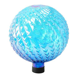 Alpine Fountains - 10 in. Glass Gazing Globe in Blue - Made of decorative textured glass.. 1 Year Limited Warranty. Assembly Required. Overall Dimensions: 10 in. L x 10 in. W x 11 in. H (1.87 lbs)Liven up your outdoors with our amazing gazing globe collection for an enchanting and colorful display. Use them as an accent to your patio or move them out in to the garden to create a perfect centerpiece for your favorite outdoor setting.