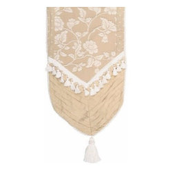 Jennifer Taylor Heirloom Cord & Tassels Table Runner - A line of tiny tassels borders the lovely beige and white floral pattern on the Jennifer Taylor Heirloom Cord & Tassels Table Runner, adding a beautiful touch of texture. This table runner is made from a polyester/cotton blend, and comes in a range of sizes to fit any table.About ACG Green Group, Inc.ACG Green Group is a home furnishing company based in Irvine, California and is a proud industry partner with the American Society of Interior Designers. ACG Green features Jennifer Taylor and Sandy Wilson, their exclusive home décor lines. These two complete collections offer designer home furniture, bedding sets, dining linens, curtains, pillows, and more in classic silhouettes, original designs, and rich colors to complement your home and life.
