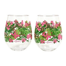 Lilly Pulitzer - Lilly Pulitzer Stemless Acrylic Wine Glasses (Set of 2), Tiger Lilly - Our Lilly Pulitzer Stemless Acrylic Wine Glasses, Tiger Lilly are perfect for outdoor entertaining. Only count the happy hours with these casually cute Lilly Pulitzer Acrylic Stemless Wine Glasses.
