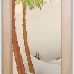 """Interior Glass Doors - Desert Palm II 3D in Color - CUSTOMIZE YOUR INTERIOR GLASS DOOR!  Interior glass doors or glass door inserts.  .Block the view, but brighten the look with a beautiful interior glass door featuring a custom frosted glass design by Sans Soucie!  ship for just $99 to most states, $159 to some East coast regions, custom packed and fully insured with a 1-4 day transit time.  Available any size, as interior door glass insert only or pre-installed in an interior door frame, with 8 wood types available.  ETA will vary 3-8 weeks depending on glass & door type........  Select from dozens of sandblast etched obscure glass designs!  Sans Soucie creates their interior glass door designs thru sandblasting the glass in different ways which create not only different levels of privacy, but different levels in price.  Bathroom doors, laundry room doors and glass pantry doors with frosted glass designs by Sans Soucie become the conversation piece of any room.   Choose from the highest quality and largest selection of frosted decorative glass interior doors available anywhere!   The """"same design, done different"""" - with no limit to design, there's something for every decor, regardless of style.  Inside our fun, easy to use online Glass and Door Designer at sanssoucie.com, you'll get instant pricing on everything as YOU customize your door and the glass, just the way YOU want it, to compliment and coordinate with your decor.   When you're all finished designing, you can place your order right there online!  Glass and doors ship worldwide, custom packed in-house, fully insured via UPS Freight.   Glass is sandblast frosted or etched and bathroom door designs are available in 3 effects:   Solid frost, 2D surface etched or 3D carved. Visit our site to learn more!"""