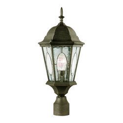 """Trans Globe Lighting - Trans Globe Lighting 4716 RT Watered Windows 22"""" Outdoor Post Top - An ornate and charming late 19th century Victorian era outdoor collection of lights. Imperial French finial and clear window insets with watered glass all around."""