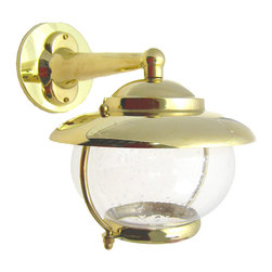Shiplights - Garden Wall Mount Light Fixture (Solid Brass Interior & Exterior by Shiplights) - Our Garden Wall Light is made of solid brass and can be used indoors or outdoors in a wide variety of applications.