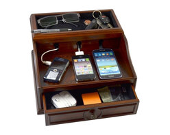 Inova Team -Vintage Charging Station - This charging station in a mahogany wood finish offers an elegant home for all your devices.