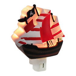 Children`s Pirate Ship Night Light Nite Lite - This pirate ship night light adds an adorable accent to your child`s room while casting a soft glow in the darkness to ease his mind. Made of cold cast resin, it measures 5 1/4 inches tall, 4 1/4 inches wide, and 2 inches deep. It has a 360 degree swivel plug to accommodate any outlet, and it uses a 7 watt (max) type C night light style bulb (included). The light has an on/off switch on the front, and is recommended for children ages 6 and up.