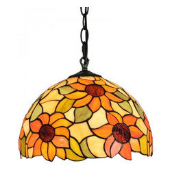 ParrotUncle - Stained Glass Sunflowers Tiffany Style Home Pendant Lamp - Stained Glass Sunflowers Tiffany Style Home Pendant Lamp