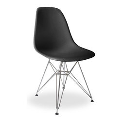 Lemoderno - Molded Plastic Side Chair WireLeg Base Black Shell By Lemoderno, Black Shell, Qt - The classic plastic side chair with wire base remains popular today for cafeterias, home offices, and dining areas. A clean, simple form sculpted to fit the body. Shells are recyclable polypropylene. The shell is dyed throughout so colors remain vibrant even after years of hard use. For extended comfort, the shell is connected to the base by rubber shock mounts. This item is a high quality reproduction of the original.