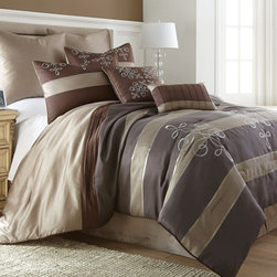 None - Reve Striped 8-piece Jacquard Comforter Set - An embroidered filigree pattern is displayed atop a striped ground to form the lovely Reve comforter,sham,bedskirt and decorative pillow set. Crafted with soft polyester microfiber for comfort,this upscale bedding will lend elegance to your space.