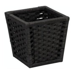 Household Essentials - Paper Rope Waste Basket, Black - Our Paper Rope Waste Basket in black color is ideal for bathrooms, laundry rooms or offices. With clean tapered lines, this designer waste bin has a sturdy frame that hold all the contents in it securely. A protective coating prevents mold or mildew and keeps the basket breathable. It blends in any deocr and organizes your home sytlishly.