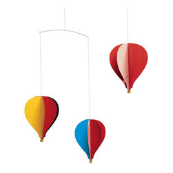 Flensted Mobiles - Balloon Mobile 3 - Your imagination will soar to new heights with this colorful mobile. Inspired by the montgolfières of 18th-century France and modern hot air balloons of today, three balloons soar above the sky with the faintest puff of air.\