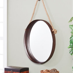 Southern Enterprises - Nautical Mirror - 20.5W x 38.5H in. - HN4292-6 - Shop for Mirrors from Hayneedle.com! Like your personal porthole into classic nautical style the Nautical Mirror - 20.5W x 38.5H in. makes any room feel like an ocean expedition. The inset mirror sparkles as it peers out from the rich rust finished metal frame. A separate knob attaches so you can adjust height on the charming rope hanger. This mirror is the design captain of any room.About SEI (Southern Enterprises Inc.)This item is manufactured by Southern Enterprises or SEI. Southern Enterprises is a wholesale furniture accessory import company based in Dallas Texas. Founded in 1976 SEI offers innovative designs exceptional customer service and fast shipping from its main Dallas location. It provides quality products ranging from dinettes to home office and more. SEI is constantly evolving processes to ensure that you receive top-quality furniture with easy-to-follow instruction sheets. SEI stands behind its products and service with utmost confidence.