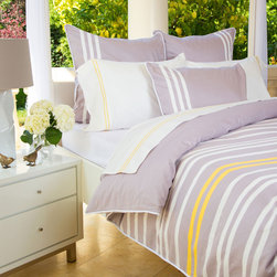 Crane & Canopy - Webster Grey Sham - King - Oh, sweet stripes! The Webster striped bedding is a modern take of the classic striped duvet cover and shams as it mixes in horizontal white and marigold stripes across a beautiful quartz grey palette.