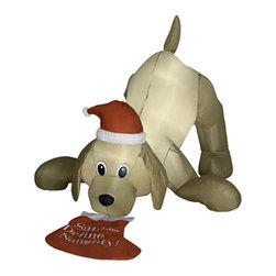 None - 4-foot Animated Airblown Golden Retriever and Christmas Stocking Lawn Ornament - Santa's best friend just can't wait to start the holiday cheer. This adorable airblown inflatable ornament will complete your festive outdoor scene in just seconds with a handy self-inflating features.