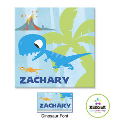 "Kidkraft - Kidkraft Kids Blue Dinosaur Canvas 15""x15"" Photo Frame - This Photo Frame Can be personalized with any name up to 9 characters in length. All lower case, Font, color and graphic art only as shown, Hardware for hanging is included."