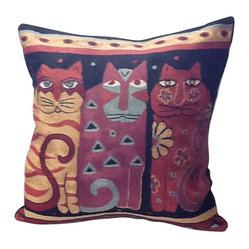 Three Cats Contemporary Pillow