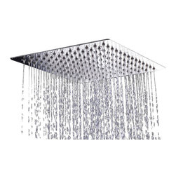 """AKDY - AKDY Square Polished Stainless Steel Chrome Finish Shower Head, 13 3/4"""", Without - The AKDY shower head is the ultimate study in simplicity. With clear rubber nozzles spread over an 13.75"""" square surface, this shower head delivers a strong downpour of water. Sleek in design, and highly functional, this model was meant for people who want one thing: an amazing shower experience without unnecessary frills."""