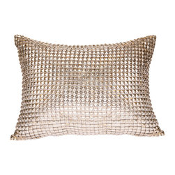 Pyra & Co - Jild Pillow, 14x20 - Decidedly a little more Rock-n-Roll, the armor-like Jild lends a bit of edge to the prettiest of spaces. Sewn by hand, each silver metal stud effortlessly melds a vanguard vision with impeccable craftsmanship. Due to the handmade nature of each product, pieces may vary slightly and have imperfections.  These are elements that showcase the true beauty of truly being crafted-by-hand.
