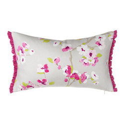 """Legacy Home - Legacy Home Floral Pillow w/ Ruffle, 12"""" x 20"""" - We love the contrast of soft gray and vivid cherry blossom tones on these bed linens from Legacy Home. Floral and pergola patterns are linen. Solid gray matelasse linens and tailored dust skirts are cotton/polyester. Matelasse coverlets have a 2"""" mit..."""