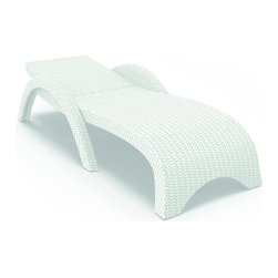 Compamia - Miami Resin Wickerlook Chaise Lounge White - Set of 2 - Miami wickerlook outdoor chaise lounge. Stackable. Wickerlook resin is a natural looking un-woven furniture technology. Wickerlook furniture will never unravel. Made for commercial durability. Good choice for hotels and restaurants. UV treated. Hose down for cleaning. Withstands summer and winter temperatures. Color White.