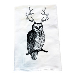 The Coin Laundry - Owl Kitchen Towel - Our own version of the Great Horned Owl hand screen printed on a 100% cotton flour sack towel. From cleaning windows, to countertops to covering your dough while it rises, these babies do it all! Printed with earth friendly water based inks and solvents. Makes a great gift!