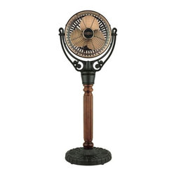 Fanimation Fans - Old Havana Floor Fan by Fanimation Fans - The Fanimation Old Havana Floor Fan improves comfort levels, enhancing the details of daily living with refreshing air circulation and whispers of old world charm. The Old Havana Floor Fan features three speeds and a cord that plugs into a wall outlet. It does not oscillate, and it is non-reversing.Fanimation, an acknowledged ceiling fan industry leader, creates and produces refreshingly innovative ceiling fans for a wide variety of venues. Fanimation's founder, Tom Frampton, who began Fanimation in his Indiana garage, travels the world for inspiration.The Fanimation Old Havana Floor Fan is available with the following:Included Features:Die cast motor and base construction.Black pedestal  base finish.Carved Post column in contrasting finish.Antique Copper finish on grill, motor, and logo.Motor assembly may be swiveled up and down manually.Three forward speeds.96 in. power cord with plug (not shown).Mounting hardware.Limited lifetime motor warranty.UL Listed.Please Note: The Old Havana Floor Fan does not oscillate, and it is does not have reverse. Wall and remote controls are not available for this item.Shipping:Orders placed by 11am PT Monday - Friday will ship within 24 hours. Orders received after 11am PT will ship next day. Orders received after 11 am on Friday through Sunday will ship the following Monday. .  This item is available only in the US.