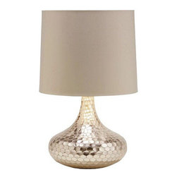 Arteriors Home - Arteriors Home Tortoise Silver Bottle Neck Table Lamp - Arteriors Home 44469-153 - Arteriors Home 44469-153 - Silver bottleneck glass table lamp with a reflective surface giving the effect of tortoise shell patterned mirrored tiles. Topped with a putty poly fabric shade with silver foil lining.